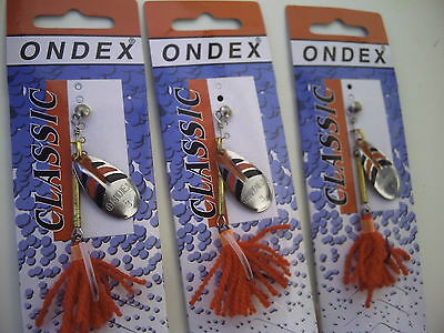 Set of Three World Famous Ondex Spinners. Size 3. Silver,Red & Black.
