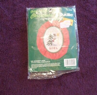 BUCILLA GALLERY OF STITCHES Counted Cross Stitch Kit MR. SNOWMAN HOOP