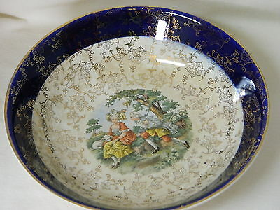 Warranted 22 Kt Gold & Blue Royal China Bowl - Victorian Lovers Picture