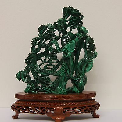 Guaranteed Antique Chinese Solid Malachite Hand-Carved Statue of Kwan Yin