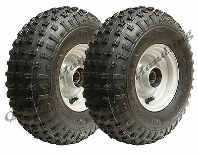 2 -145/70-6 - knobby ATV tyre & rim Quad trailer wheels with ball bearings 150kg