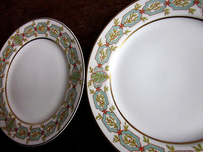 TWO 2 HAVILAND & CO LIMOGES PLATES TEAL BERRIES FLORAL GOLD TRIM 8 3/4 inches