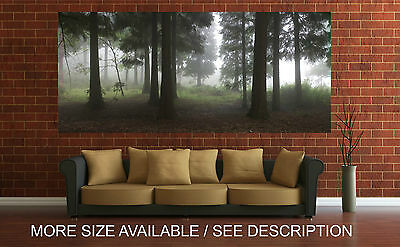 Wall Art Canvas Print Picture Green Forest Big Black Trees Panoramic-Unframed