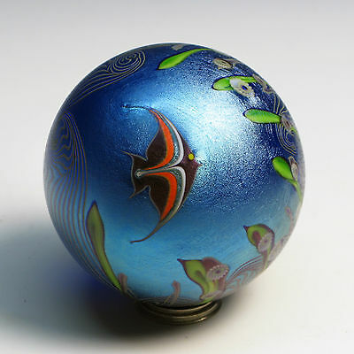 """Excellent """"Angelfish"""" Orient & Flume Vintage Paperweight 1979 Signed"""