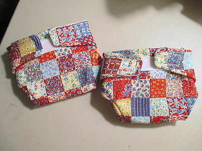 """Country Patchwork 2 Handmade Cloth Doll Diapers 14-16"""" Thick Quilted Lined"""