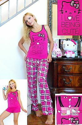 NWT Sanrio Hello Kitty I LOVE BEING CUTE 3 pieces PJ Set S,M,L,XL,GIFT Package