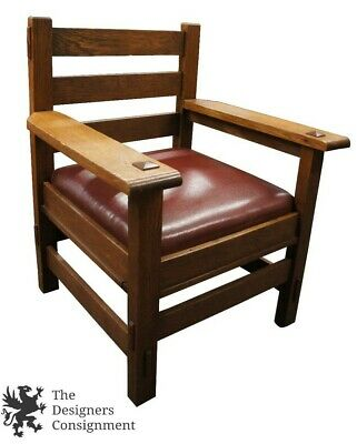 Vintage Arts & Crafts Mission Arm Chair Tiger Oak Quartersawn Vinyl Seat Lounge
