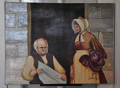 """Oil on Canvas Portrait of a Woman Admiring Her Husband """"Cherished One"""" Signed"""
