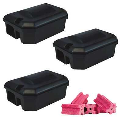 3 X PROFESSIONAL RODENT BAIT STATION BOX TRAP & 15 Bait Blocks Rat Mouse Mice