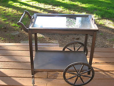Authentic Antique Victorian 1900 S Brown Tea Cart With