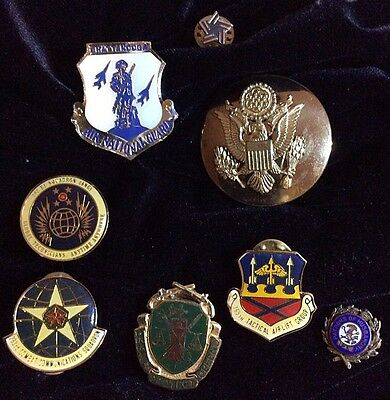 VTG - Military Army Airforce Navy Marines Guard - Lot of 8 Medals Pins Badges