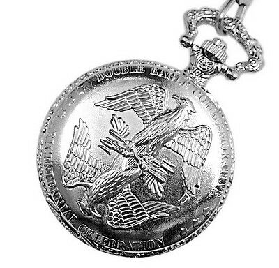 Men's Gift Fashion Double Eagle commemorative Silver Pocket Watch