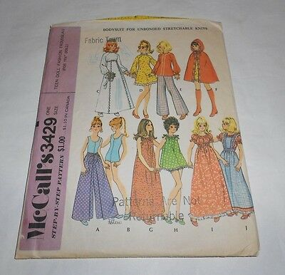 """Vintage McCall's Teen Doll Fashion Trousseau for 11.5"""" Dolls Pattern 3429 1972"""