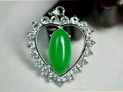 Silver Green Jade Heart Shaped Crystal Pendant Necklace. Christmas Gift