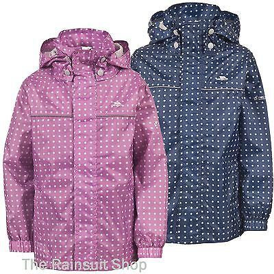 TRESPASS GIRLS WATERPROOF ENJOY HOODED RAIN JACKET COAT KIDS CHILDS 3-12yrs