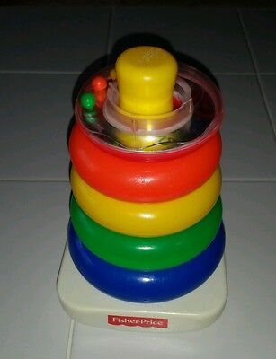 """FISHER PRICE BRILLIANT BASICS ROCK A STACK STACKING RINGS 7"""" STACK TOY TOWER"""