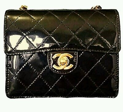 Authentic Chanel Black Quilted Patent Leather Classic Mini Flap Shoulder Bag