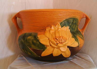 Roseville Orange Brown Yellow Water Lily Jardiniere c.1940s - #663-8