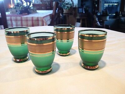 Set Of Four Forest Green/ Gold Shot Glasses/ Cordials