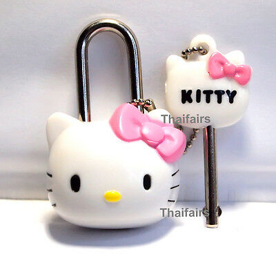 HELLO KITTY CUTE LOCK AND KEY MINI SAFETY SECURITY KEY TRAVEL  LUGGAGE PINK BOW