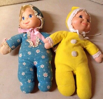 VINTAGE LOT OF 2 MATTEL 1970 TALKING AND YELLOW BEANIE BABY DOLLS