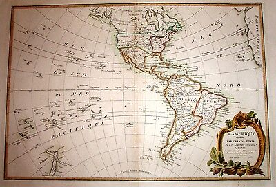 1783 Janvier Antique Original Map of North and South America with certificate