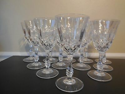 BEAUTIFUL SET OF 12  DIAMOND CUT OVAL THUMBPRINT CRYSTAL WINE GOBLETS
