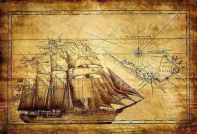 Vintage Pirate Ship with Treasure Map Sea Ocean VPS01 A3 A4 POSTER PRINT