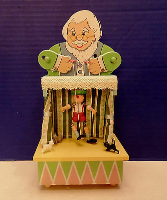 Vintage Wood Geppetto Pinocchio Puppet Show Marionette Music Box by Enesco