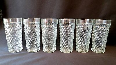 """6 Vintage Quilted Diamond Pattern Clear Pressed Glass Tumblers 5 7/8"""" ~ 12 oz"""