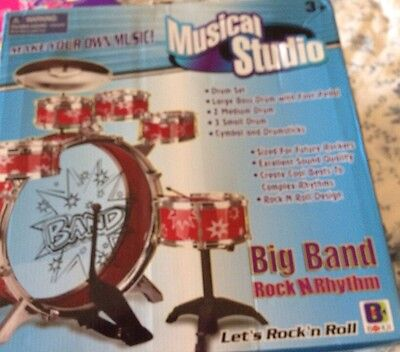 11 Piece Drums Sets Kids Rock N Roll Drumsets Musical Instruments Toys Playsets