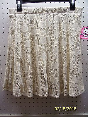 HELLO KITTY IVORY LACE LOOK OVER GOLD FLAIR GIRLS SKIRT XL 14/16 NWTA FREE SHPG