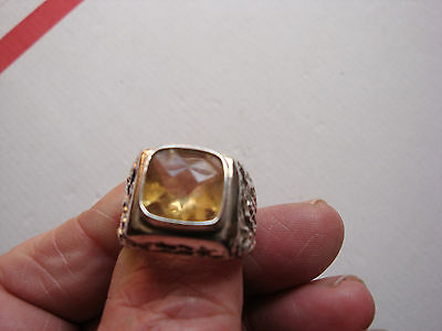 MARKED RC 925 ARTISAN MADE STERLING SILVER AND CITRON STONE mens ring