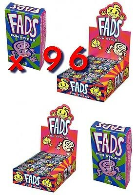 Bulk Lot 96 x Fads Fun Sticks 15g Candy Stick Lolly Buffet Sweets Party Favors