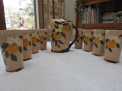 Vintage Orchard Ware Hollywood Ware ORANGE BLOSSOM PITCHER w/ 8 TUMBLERS