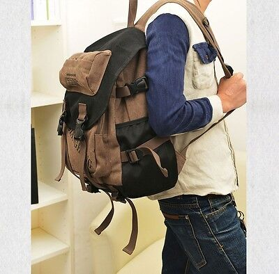 Men Women's Vintage Canvas Backpack Rucksack School Book Bag Hiking coffee