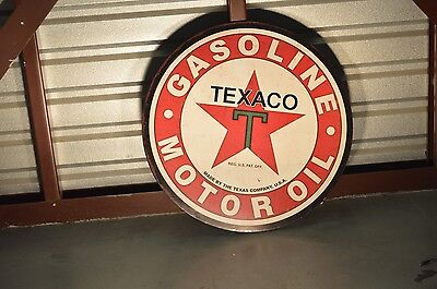 "Big 30"" Good Quailty Round Metal Texaco Gasoline & Motor Oil Sign"