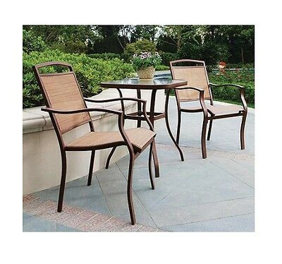 3pc Outdoor Bistro Set Table Chairs Patio Deck Garden Lawn Pool Furniture NEW