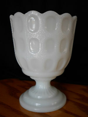EO Brody Milk Glass Vase Compote Bowl Thumbprint Pattern  Pedestal