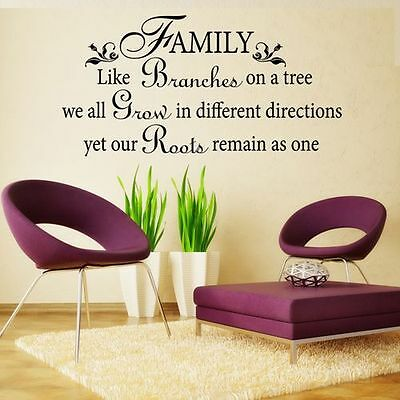Inspired Wall Sticker Family Like Branches Tree Quote Vinyl Decal holiday Decor