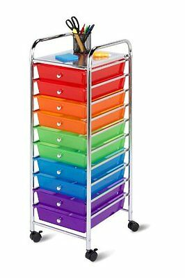 10-Drawer Rolling Tower Organizer Cart Bright Color Sturdy Metal Frame Office