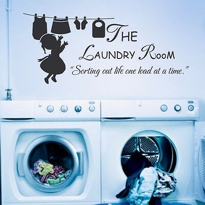 Family Wall Decal Laundry Room Washroom Home Vinyl Quote Holiday Removable Decor