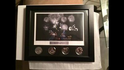 Walt Disney World Four Park Coin Set Picture Frame New