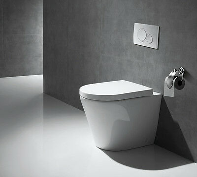 White Ceramic WC Toilet Bathroom Heavy Duty Soft Close Coupled Pan Back To Wall