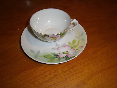 Nippon Hand Painted Cup & Saucer Pink Rose Flower Rising Sun Mark