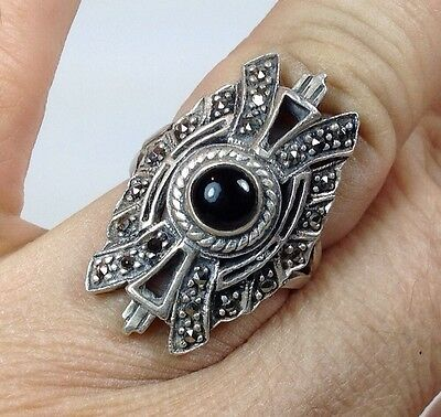 VINTAGE ART DECO Ring X-LARGE STERLING SILVER 925 ONYX MARCASITE WOMENSBAND