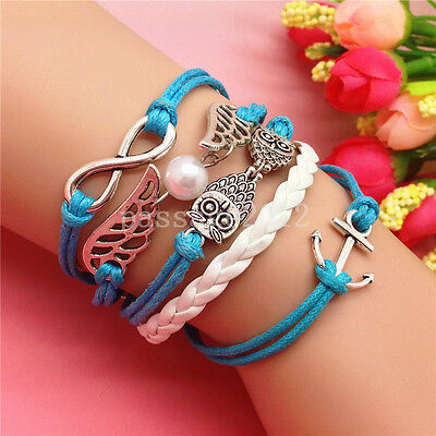NEW DIY Fashion Pearl Wing Owl Leather Cute Charm Bracelet plated Silver B167