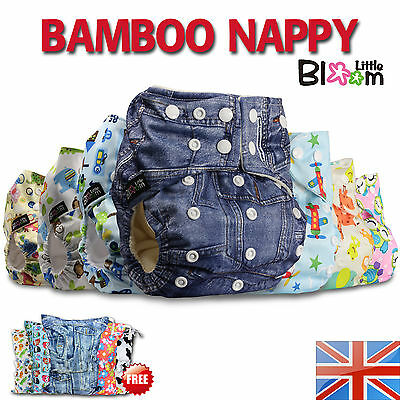 BAMBOO TOWELLING Baby Reusable Washable Cloth Nappy Real Diaper + Insert