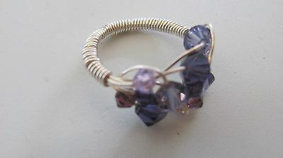 Amethyst Wire Sterling Silver .925 Ring Size 8 w/ Purple Stones Size 8