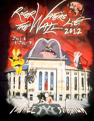 MEDIUM NEW YORK YANKEE STADIUM THE WALL ROGER WATERS PINK FLOYD T SHIRT 2 SIDES